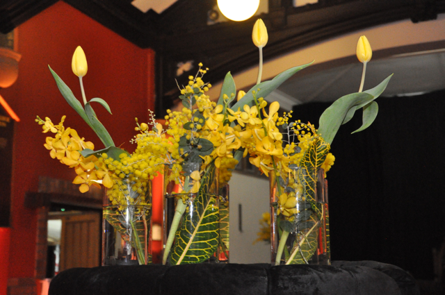 """ Gold & Black theme"" Event flowers for Sydney University"